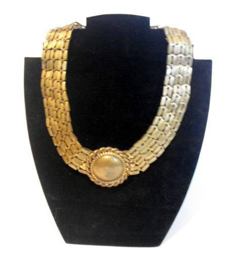 Heavy gold tone collar necklace