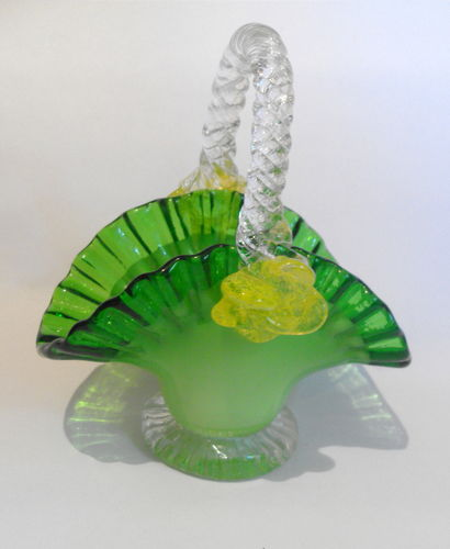 Green glass basket vase