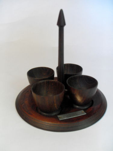 1940s wooden egg cups and stand