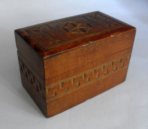 Wooden 2 compartment card box