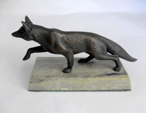 Bronze fox on marble plinth