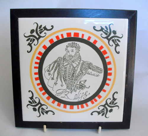 Framed Sir Walter Raleigh Tile