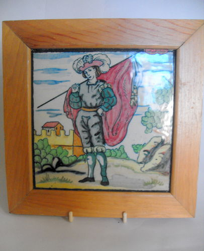 Framed polychrome ceramic tile