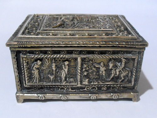 Embossed brass or bronze box