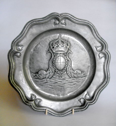 Pewter Charger with emblem
