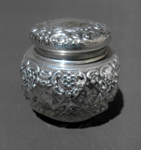 Silver mounted pot and cover